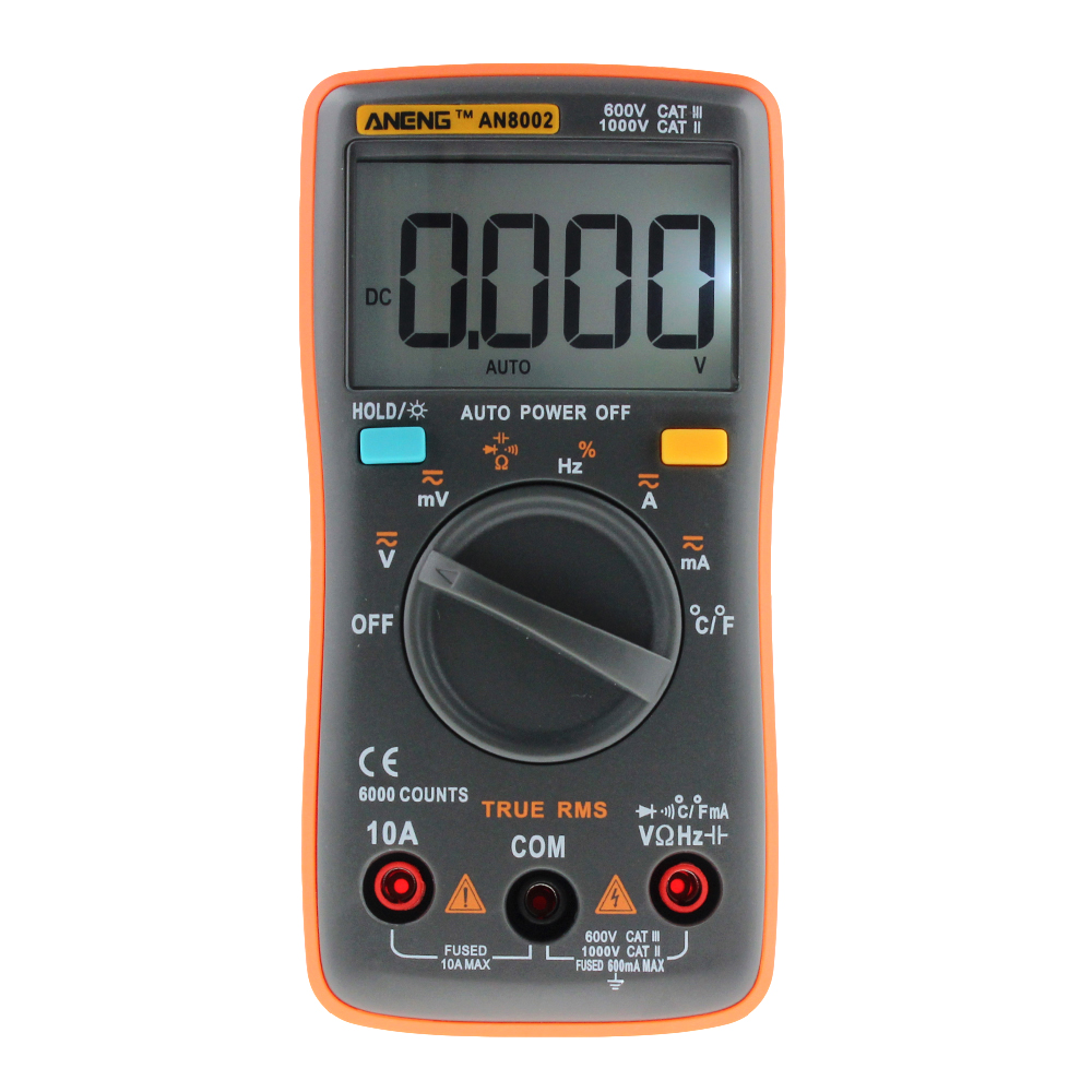 New ANGNG AN8002 Multimeter 6000 counts Back light AC/DC Ammeter Voltmeter Ohm Frequency Diode Temperature P20 an8002 multimeter 6000 counts back light ac dc ammeter voltmeter ohm frequency diode temperature y40