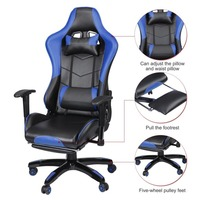 Gaming Office Chair 360 Degree Rotate Adjustable Seat & Armrests Height Backrest Computer Office Chair With Footrest Racing Seat