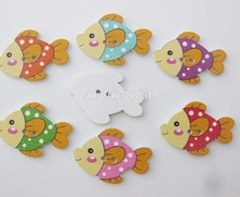 WBNWNV Wood Animal button 20mm*30mm Fish shape Baby buttons mix 100pcs sewing accessories