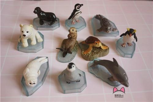 Petit R pvc figure Aquarium animaux de mer pingouin ours polaire lion marin morse de mer 10 pièces/ensemble
