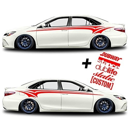 Car styling for 1sets sg motiv body side graphics tribal stripes car truck sticker decal decals illest stance dub life custom in car stickers from