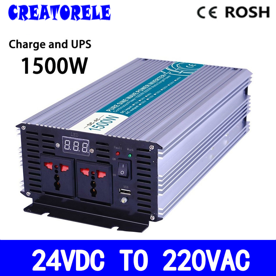 P1500-242-C UPS iverter 24v to 220v 1500w Pure Sine Wave soIar iverter voItage converter with charger and UPS p800 481 c pure sine wave 800w soiar iverter off grid ied dispiay iverter dc48v to 110vac with charge and ups