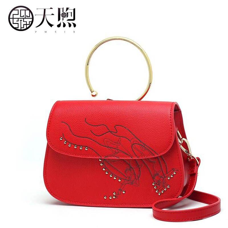 b4b4443111c9 PMSIX 2019 новая кожаная сумка woemn модные сумки женские известные бренды  Красная Женская хозяйственная сумка через