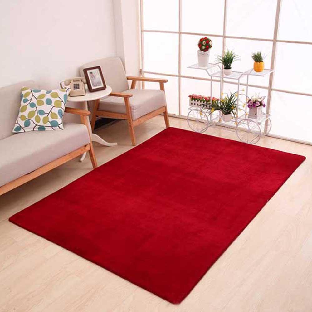 Коврик из полиэфирного волокна кораллового бархата для спальни, гостиной, мягкое украшение для дома, чайный стол, стулья, коврик для пола, нескользящая прихожая - Цвет: Wine red