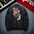2016 Mens Espesar Chaqueta de Bombardero P5015 Sólido Rosa de Algodón Chaqueta Acolchada para el Invierno