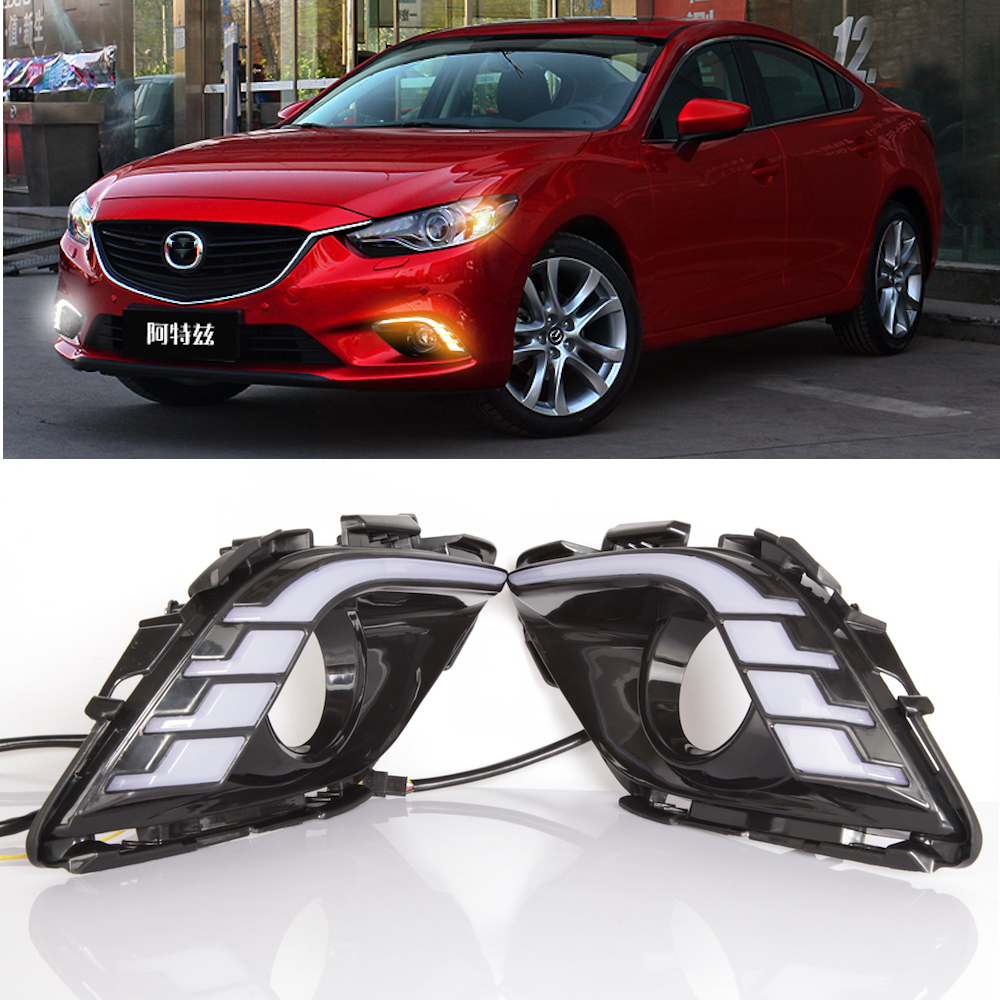 Kalaite LED Daytime Running Lights For Mazda 6 2013 2014 2015 2016 Atenza DRL 3 color white blue yellow turn signal car styling цена
