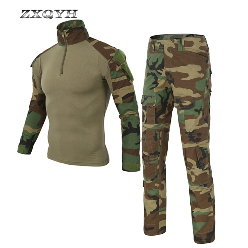 ZXQYH Outdoor Military Tactical Uniforms Army Combat Camouflage Clothing Men Hunting Suits T-Shirts Pants Hiking Sets Uniforms