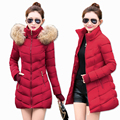 2017 Inverno Mulheres Jaqueta Moda Longo Grosso Quente Para Baixo Algodão Mulheres jaqueta De Alta Qualidade falso Casaco de Gola De Pele Fina Sobretudo Parka