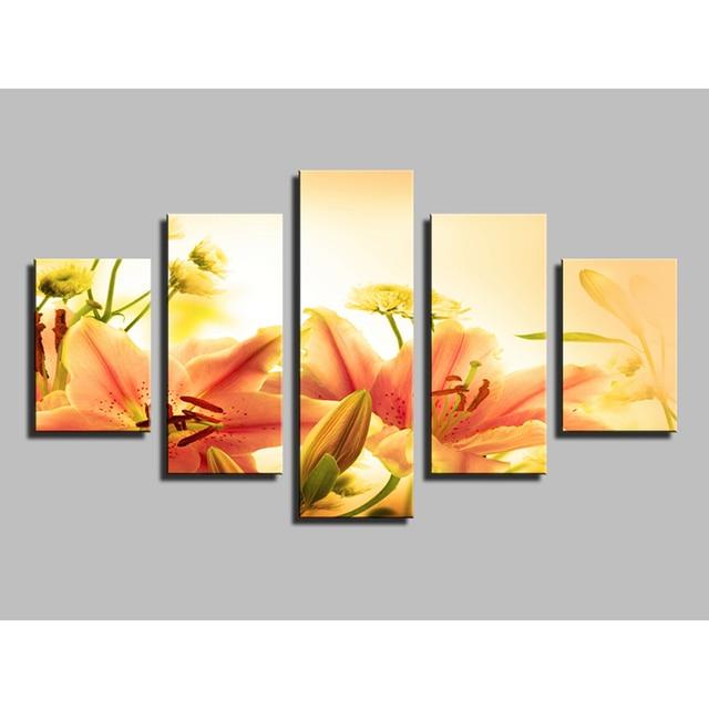 warme farben malerei, warm & lilie blume gemälde für wohnzimmer vintage wohnkultur bild, Innenarchitektur