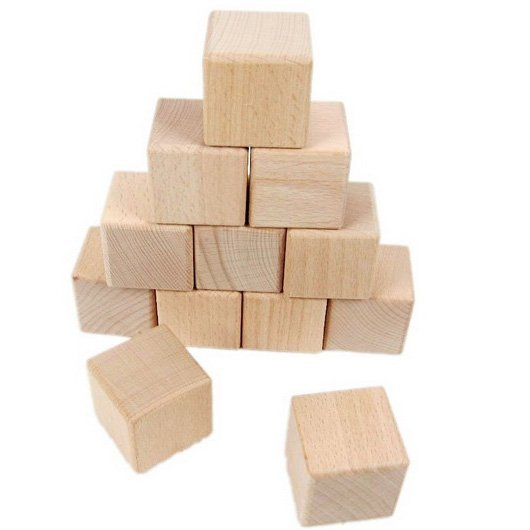 Cube En Bois 20 pcs/lot.4cm bois cube, solide en bois blocs de construction