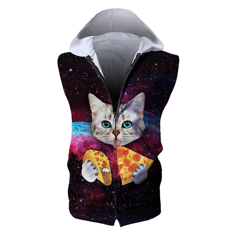 Usa Size Outer Space Chowhound Pizza Cat Mens Sleeveless Hoodies