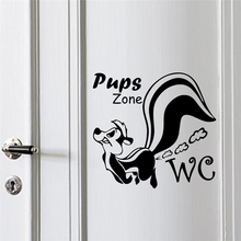 Toilet Removable Vinyl wall stickers Pups Zone Cartoon Lovely Decoration Bathroom WC Wall Decal PVC Art Poster Mural W450