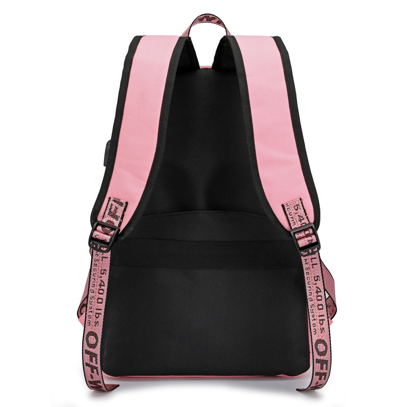 Image 3 - casual preppy style women backpack large capacity letter panelled student school backpacks USB Charging Backpack Laptop Backpack-in Backpacks from Luggage & Bags