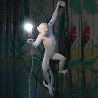 Nordic современные смолы черный, Белый Цвет Золото Обезьяна E27 светодио дный Бра Творческий обезьяна Гостиная светодио дный настенный светиль