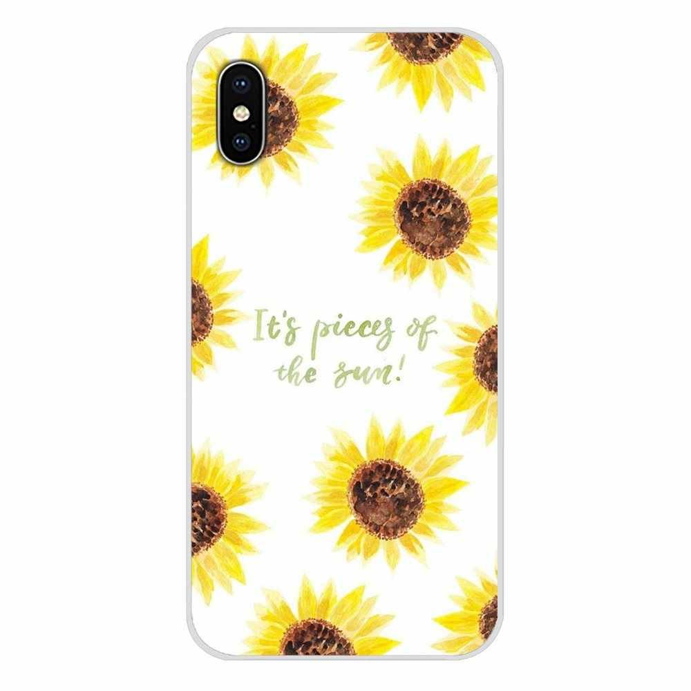 สำหรับ Motorola Moto X4 E4 E5 G5 G5S G6 Z Z2 Z3 G3 G2 C Play PLUS อุปกรณ์เสริมโทรศัพท์กรณีสวยงามดอกไม้สีเหลืองดอกทานตะวัน