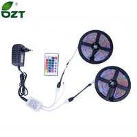 RGB LED tira 5M 10M (2*5 M) SMD 3528 2835 LED luz IR mando a distancia 12V adaptador de corriente luz Flexible Led cinta hogar Decoratio