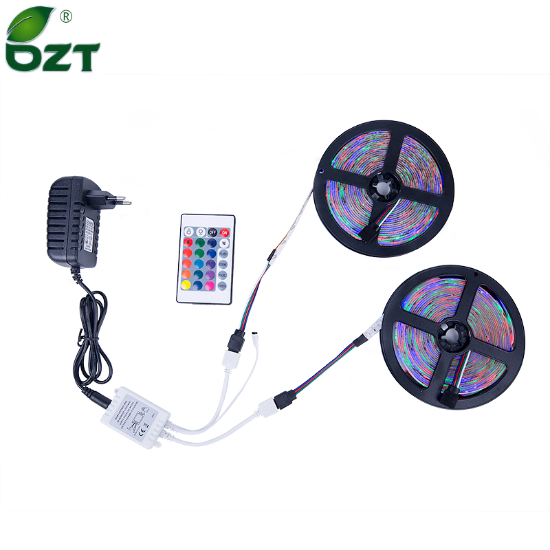 RGB LED Strip 5M 10M (2 * 5M) SMD 3528 2835 LED Lys IR Fjernbetjening 12V Power Adapter Fleksibel Lys Led Tape Home Decoratio