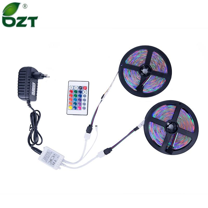 RGB LED Strip 5M 10M(2*5M) SMD 3528 2835 LED Light IR Remote Controller 12V Power Adapter Flexible Light Led Tape Home Decoratio