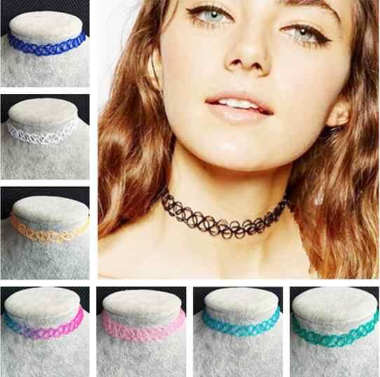Gargantillas collares Vintage elasticidad sedal collar de tejido gargantilla Punk elástico cuello cadena collares para mujer chica 1 Uds