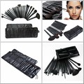 Big Discount ! 32pcs/SET  Brush Cosmetic Facial Make up Brush Kit Wool Makeup Brushes Tools Set Black Leather Case free shipping