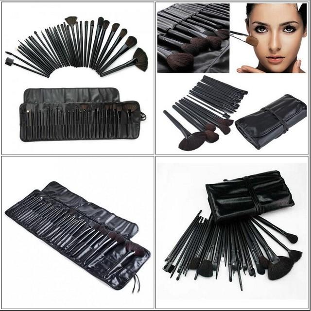Descuento grande! 32 unids/set Estética Facial maquillaje Pincel de Maquillaje Lana Kit Del Cepillo Brochas de Herramientas Set Funda de Cuero Negro envío gratis