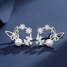 Cute Round Cubic Zircon Flower Butterfly Stud Earrings Simulated Pearl Earring For Women Girl Jewelry Gift цена 2017