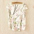 Alta calidad del Batwing más tamaño harajuku camiseta mujeres 2015 de verano moda camiseta de la cereza gato búho lindo animal de la impresión mujeres tops