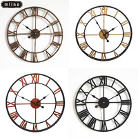 1PC 40CM Nordic Metal Roman Numeral Wall Clocks Retro Iron Round Face Black Gold Large Outdoor Garden Clock Home Decoration