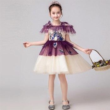 2019Summer Elegant Baby Kids Evening Birthday Party Sling Prom Mesh Dress Little Girls Toddler Piano Pageant Host Short Dress