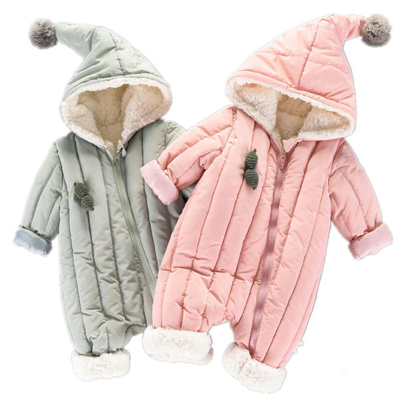 Winter Newborn Baby Girl Clothes Romper 2018 New Toddler Baby Jumpsuit Overalls Thick Warm Baby Rompers Infant Clothing