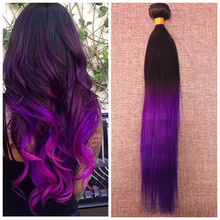 Full Shine Brazilian Remy Hair Straight One Bundle 100g 1B Purple Ombre 7A Human Hair Bundles Weave Two-toned Color Hair