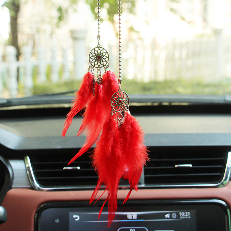 Car Pendant Dream Catcher Feather Interior Accessories Hand-woven Pendant Feather Wind Chimes Decoration Car-styling Ornaments