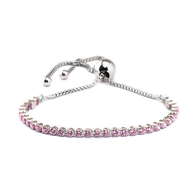 100 925 Sterling Silver Jewelry Sparkling Strand Bracelets With Pink Cubic Zirconia Free Shipping