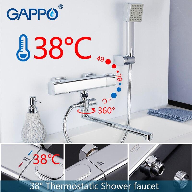 GAPPO Douche Robinet chrome salle de bains douche thermostat mural baignoire robinets en laiton de bain robinets de douche mélangeur griferia