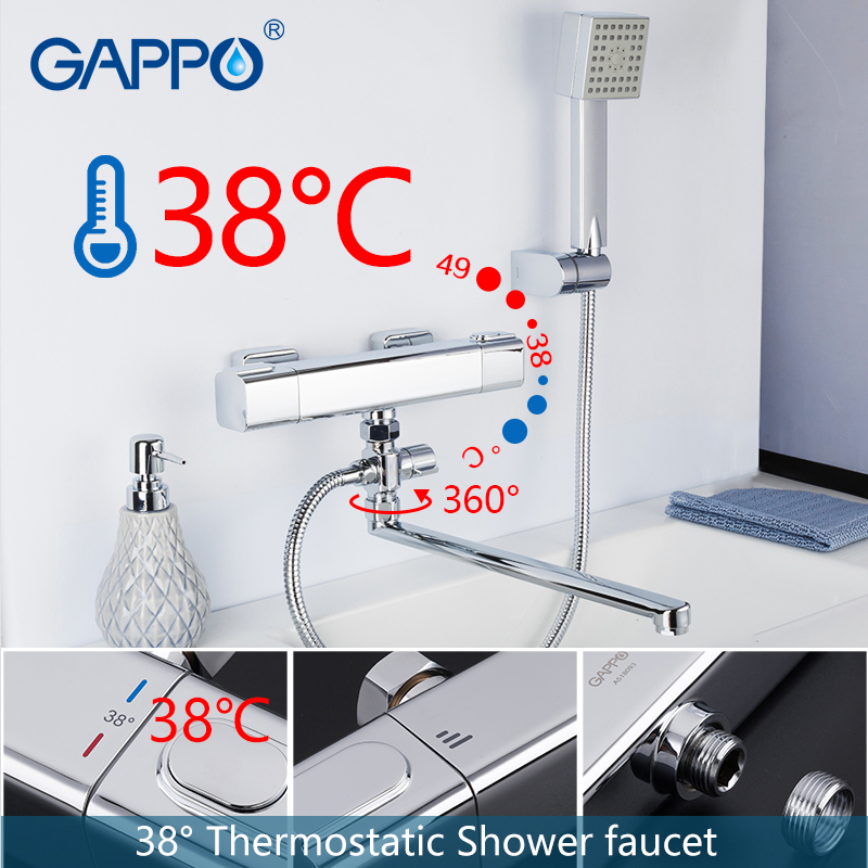 купить GAPPO Shower Faucet chrome bathroom shower wall mounted thermostat bathtub faucets brass bath taps shower mixer griferia недорого