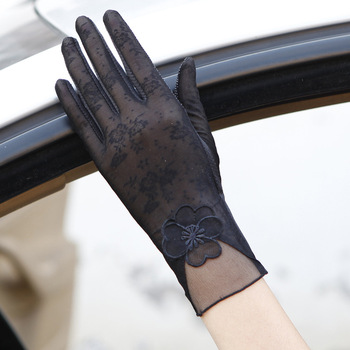 Sexy Spring Summer Women Autumn UV Sunscreen Short  Sun Gloves Fashion Ice Silk Lace Driving Of Thin Touch Screen Gloves G07A