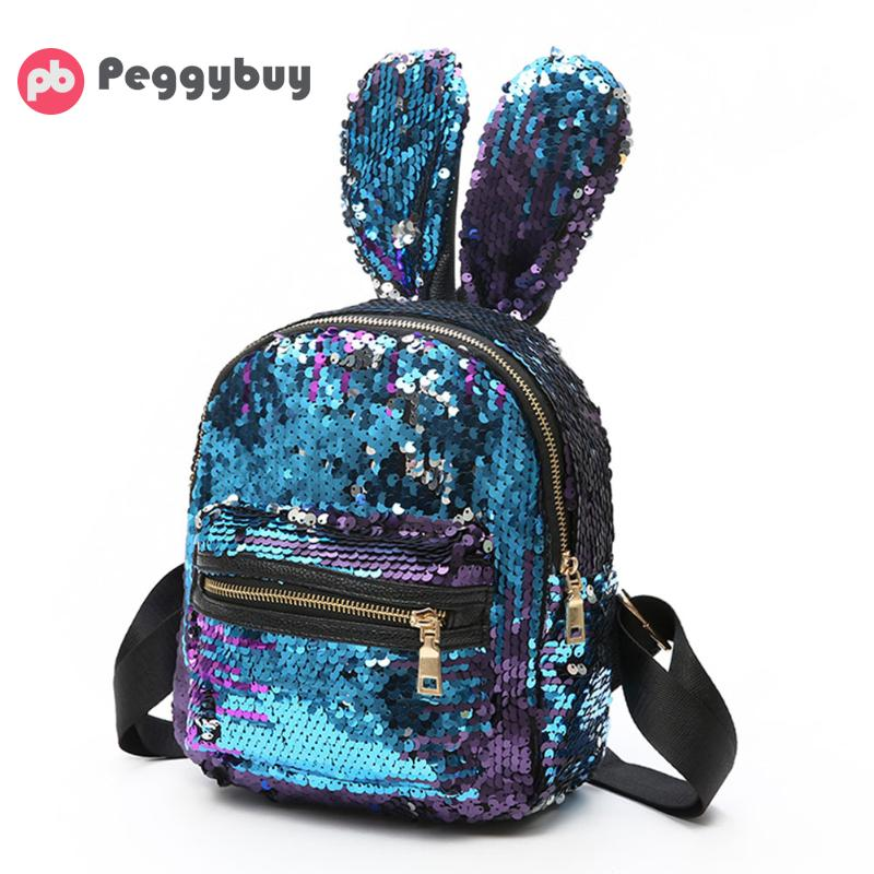 Shinning Bling Sequins Backpack Women Cute Big Rabbit Ears Double Shoulder Bag Mini Travel Bag for Teenager Girls 2018 Hot Sale 2017 small fresh mini shoulder bag with three pairs of ears can replace the small backpack cute modeling trend backpack y088