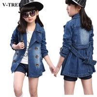 V TREE Spring Jacket For Girls Denim Girls Winter Coat Blue Children Outerwear Teenager Windbreaker