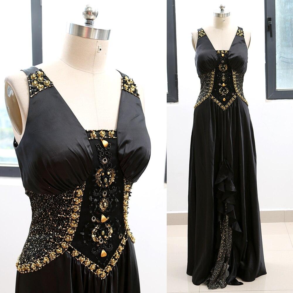 MACloth Black A-Line V Neck Floor-Length Long Beading 0   Prom     Dresses     Dress   L 263905 Clearance