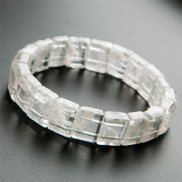 Genuine Natural  White Sericite Stone Rectangle Beads Women Lady Healing Stretch Bracelet