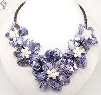 Women Jewelry natural white pearl bright blue 5 flowers pendant shell mother of pearl necklace black leather 18
