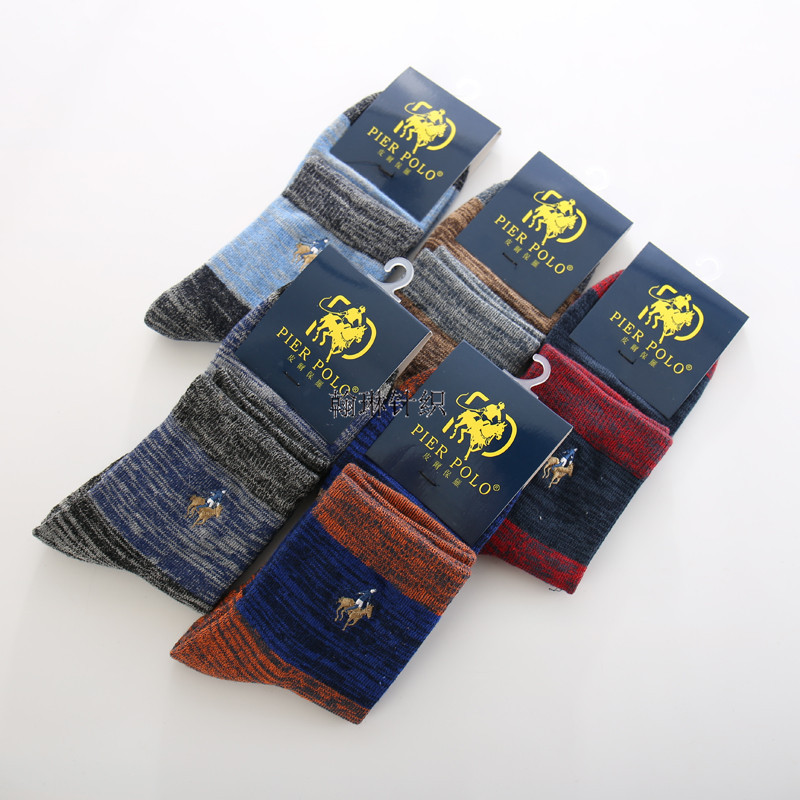 5paris Winter Men Socks  Pure Cotton THICK In Tube Socks SCOKS Embroidered Men's Pier POLO Casual Business Socks Medias De Los