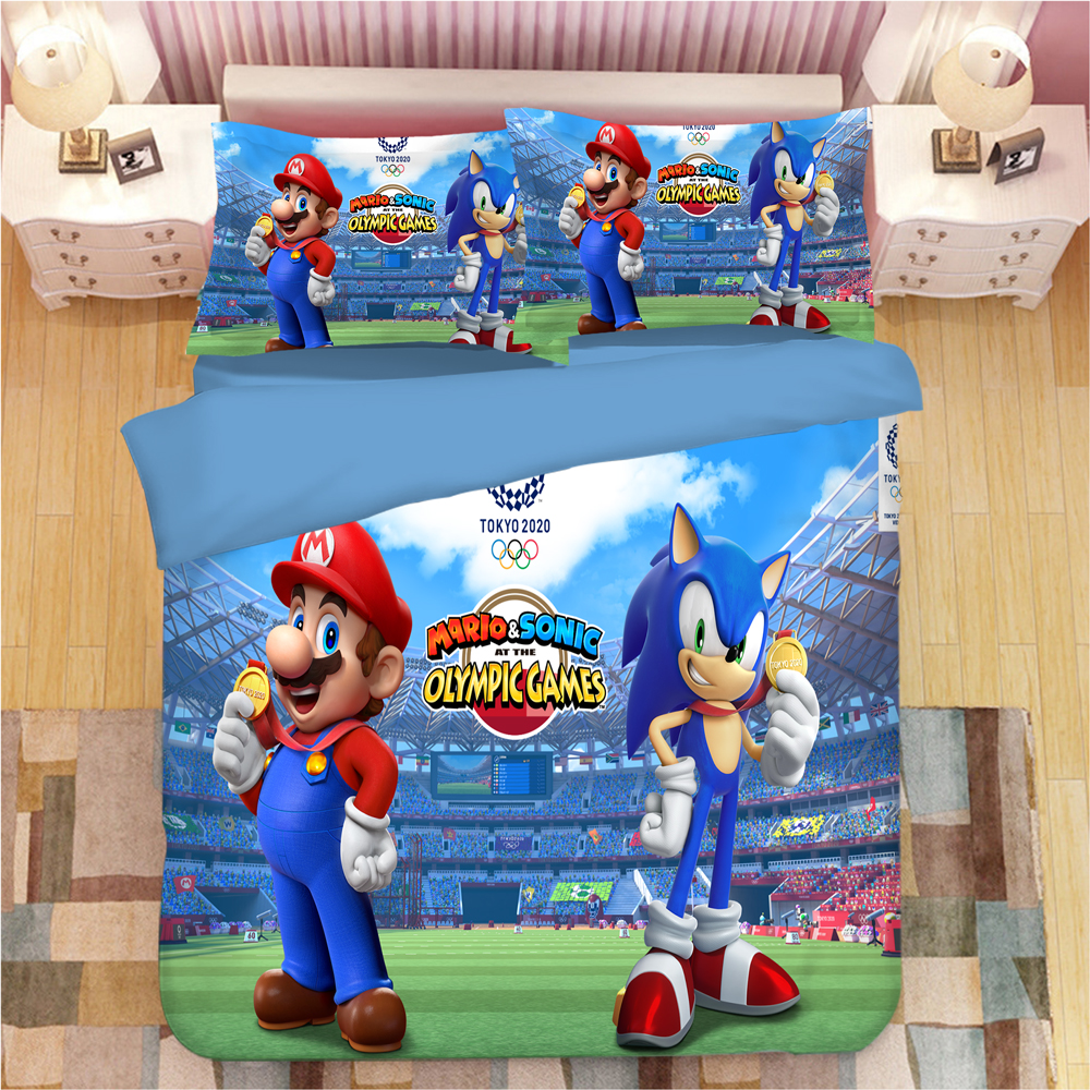 Image 5 - Sonic The Hedgehog Bedding Set Super Mario Bros Duvet Covers Pillowcases Twin Full Queen King Comforter Bedding Sets Bed Linen-in Bedding Sets from Home & Garden