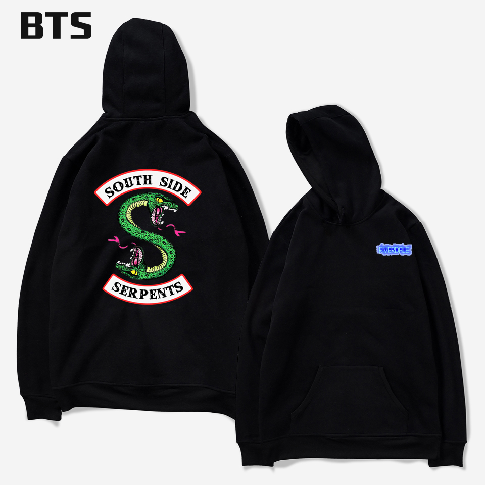 BTS Riverdale Oversized Hoodie Print European Style Boys Streetwear Tops Creative Winter Hoodies Men Sweatshirts Hooded Pullover