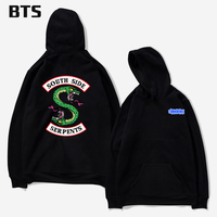BTS Riverdale Oversized Hoodie Print European Style Boys Streetwear Tops Creative Winter Hoodies Men Sweatshirts Hooded