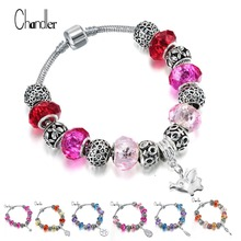 2017 European Good Luck Femme Crystal Charms Bracelets & Bangle For Women Girls With DIY Glass Bead Pulseras DIY Original Jewely