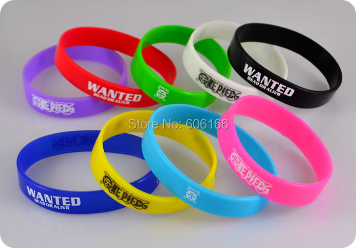 50x Anime OP ONE PIECE WANTED Silicone Bracelet Mix Colors wristband jewelry cosplay costume accessories image