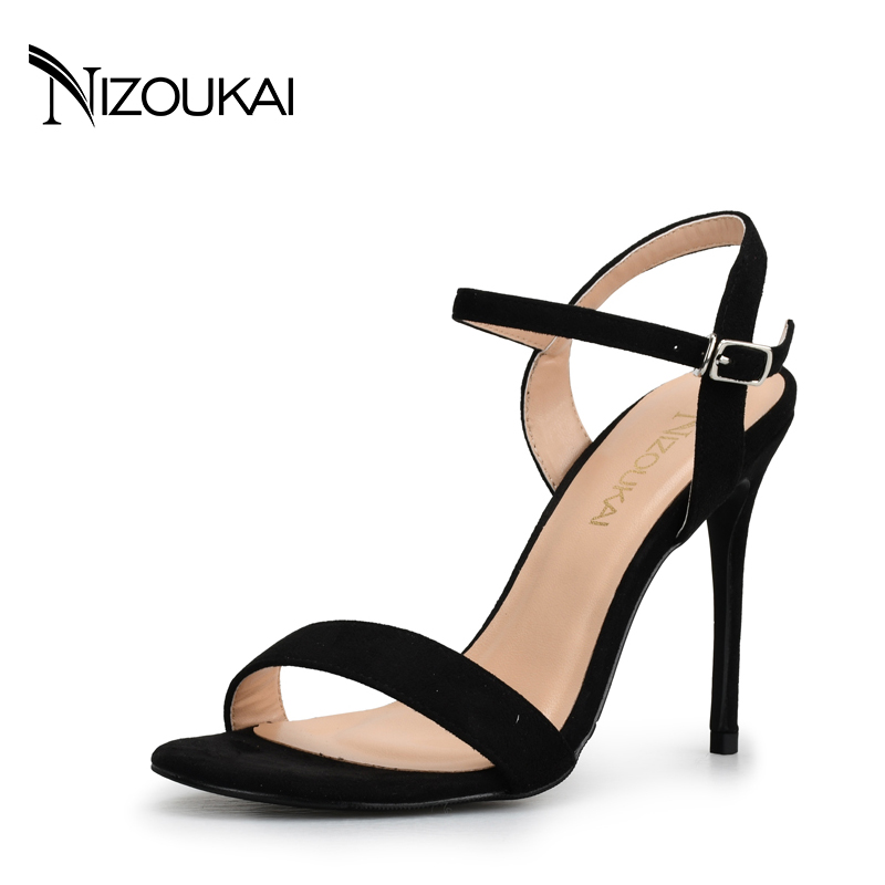 Summer Women's Sandals Thin Heel 10cm Female High Heels sandals Women Shoes Woman sexy Sandals Ankle Strap Heels lyx2-r10 new arrival black brown leather summer ankle strappy women sandals t strap high thin heels sexy party platfrom shoes woman