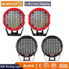 """96 Watts 9 polegadas LED Trabalho Light com tampa do Caminhão Trator 12 v 24 v Offroad LOCAL 9""""LED luz da Unidade LEVOU Worklight Luz Externa x4pcs"""