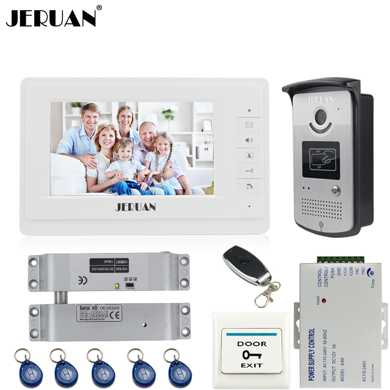 JERUAN Home Wired 7`` TFT color video door phone intercom system 700TVL RFID Access IR Night Vision COMS Camera Remote Control